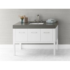 "Calabria 48"" Bathroom Vanity Base Cabinet in White"