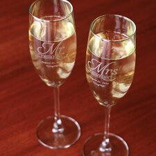 2 Piece Personalized Bridal Champagne Flute Set