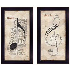 'Music' by Marla Rae 2 Piece Framed Graphic Art Set