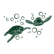 Green Sea Turtle with Bubble Small Wall Decal