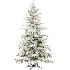 Mountain Pine 9' White Aritificial Christmas Tree with 800 LED Multi-Colored String Lighting with Stand and Flocked Branches