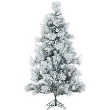 Snowy Pine 6.5' White Aritificial Christmas Tree with 450 LED Clear String Lighting with Stand and Flocked Branches