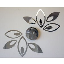 Growing with Time - Modern Mirror Floral Wall Art Clock