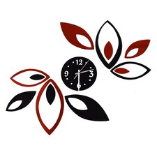 Growing with Time - Modern Red and Black Wall Art Clock
