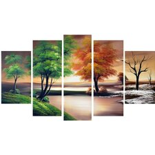 Seasons by The Lake - Landscape 5 Piece Original Painting on Canvas Set