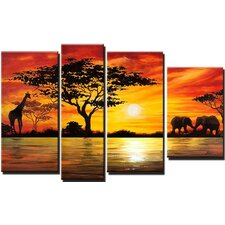 Modern African Landscape 4 Piece Original Painting on Canvas Set