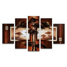 Modern African Nature Tree 5 Piece Original Painting on Canvas Set