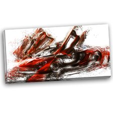 Burnt Sports Car Graphic Art on Wrapped Canvas