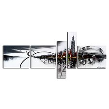Black/White Cityscape 5 Piece Graphic Art on Wrapped Canvas Set