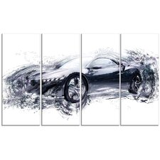 Sleek Black Exotic Car 4 Piece Graphic Art on Wrapped Canvas Set