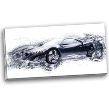 Sleek Black Exotic Car Graphic Art on Wrapped Canvas