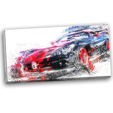 Red and Black Sports Car Graphic Art on Wrapped Canvas