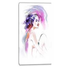 Woman Portrait Contemporary Graphic Art on Wrapped Canvas