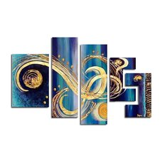 Abstract 5 Piece Original Painting on Canvas Set
