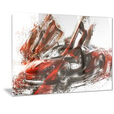 Metal 'Burnt Red Sports Car' Graphic Art