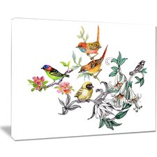 Tropical Flowers and Birds Painting Print on Wrapped Canvas