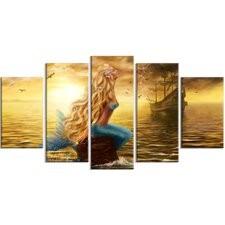 'Sea Mermaid with Ghost Ship' 5 Piece Wall Art on Wrapped Canvas Set