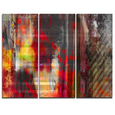'Red Decorative Design' 3 Piece Graphic Art on Wrapped Canvas Set