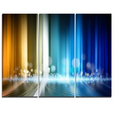 'Upright Glowing Lines' 3 Piece Graphic Art on Wrapped Canvas Set