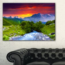 'Colorful Green Nature' Painting Print on Wrapped Canvas
