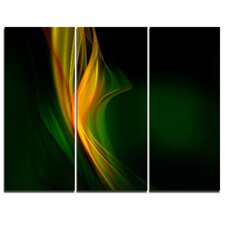 'Green Gold Upright Waves' 3 Piece Graphic Art on Wrapped Canvas Set