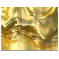 'Golden Cloth Texture' 3 Piece Graphic Art on Wrapped Canvas Set