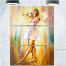 Beautiful Woman in Dress' 3 Piece Painting Print on Wrapped Canvas Set