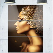 'Woman with Gold Feather Hat' 3 Piece Wall Art on Wrapped Canvas Set