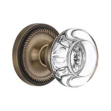 Round Clear Crystal Glass Passage Door Knob with Rope Rosette