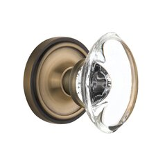 Oval Clear Crystal Glass Privacy Door Knob with Classic Rosette