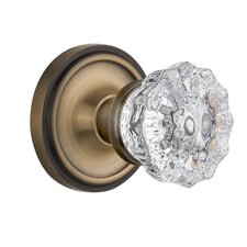 Crystal Glass Privacy Door Knob with Classic Rosette