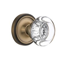 Round Clear Crystal Glass Passage Door Knob with Classic Rosette