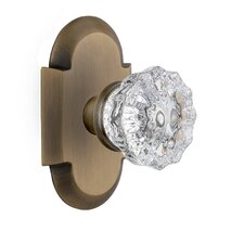 Crystal Glass Privacy Door Knob with Cottage Plate