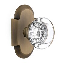 Round Clear Crystal Glass Single Dummy Door Knob with Cottage Plate