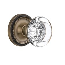 Round Clear Crystal Glass Single Dummy Door Knob with Rope Rosette