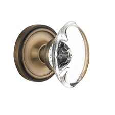 Oval Clear Crystal Glass Passage Door Knob with Classic Rosette