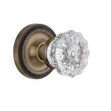 Crystal Glass Single Dummy Door Knob with Rope Rosette