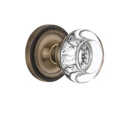 Round Clear Crystal Glass Privacy Door Knob with Rope Rosette