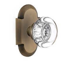 Round Clear Crystal Glass Privacy Door Knob with Cottage Plate