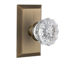 Crystal Glass Privacy Door Knob with Studio Plate