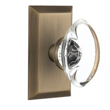 Oval Clear Crystal Glass Single Dummy Door Knob with Studio Plate