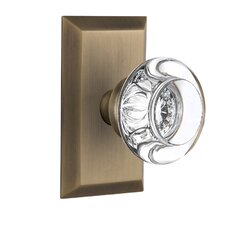 Round Clear Crystal Glass Single Dummy Door Knob with Studio Plate