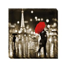 'Paris Kiss' by Kate Carrigan Graphic Art on Wrapped Canvas
