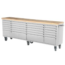 "96""W 24-Drawer Anti-Fingerprint Tool Chest with Work Station"