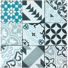 "MeaLu Patchwork Encaustic 8"" x 8"" Cement Mosaic Tile in Black/Blue (Set of 6)"