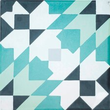 "Casablanca Encaustic 8"" x 8"" Cement Field Tile in Black/Turquoise (Set of 6)"