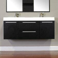 """Ripley 54"""" Double Wall Mount Modern Bathroom Vanity Set"""
