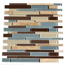 "Paragon 15.25"" x 15.65"" Glass Mosaic Stick Tile in Ocean"