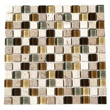 """Paragon 12"""" x 12"""" Glass Mosaic Tile in Fawn"""