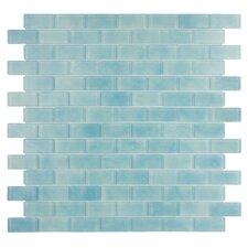 "Quartz 0.75"" x 1.63"" Glass Mosaic Tile in Light Blue"